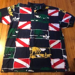 Vintage Nautica All Over Print Polo/L9